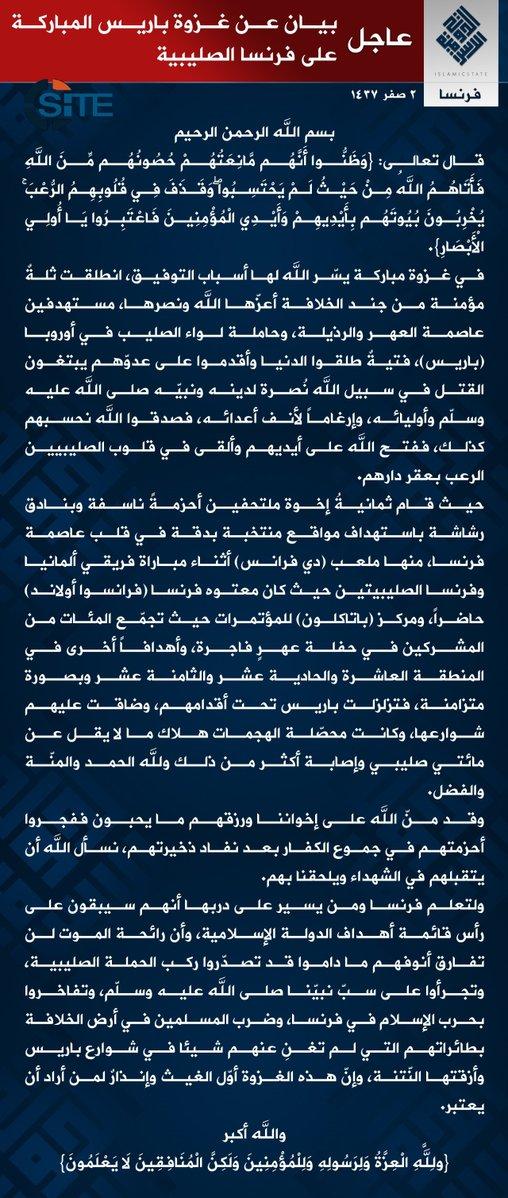 comunicado estado islamico